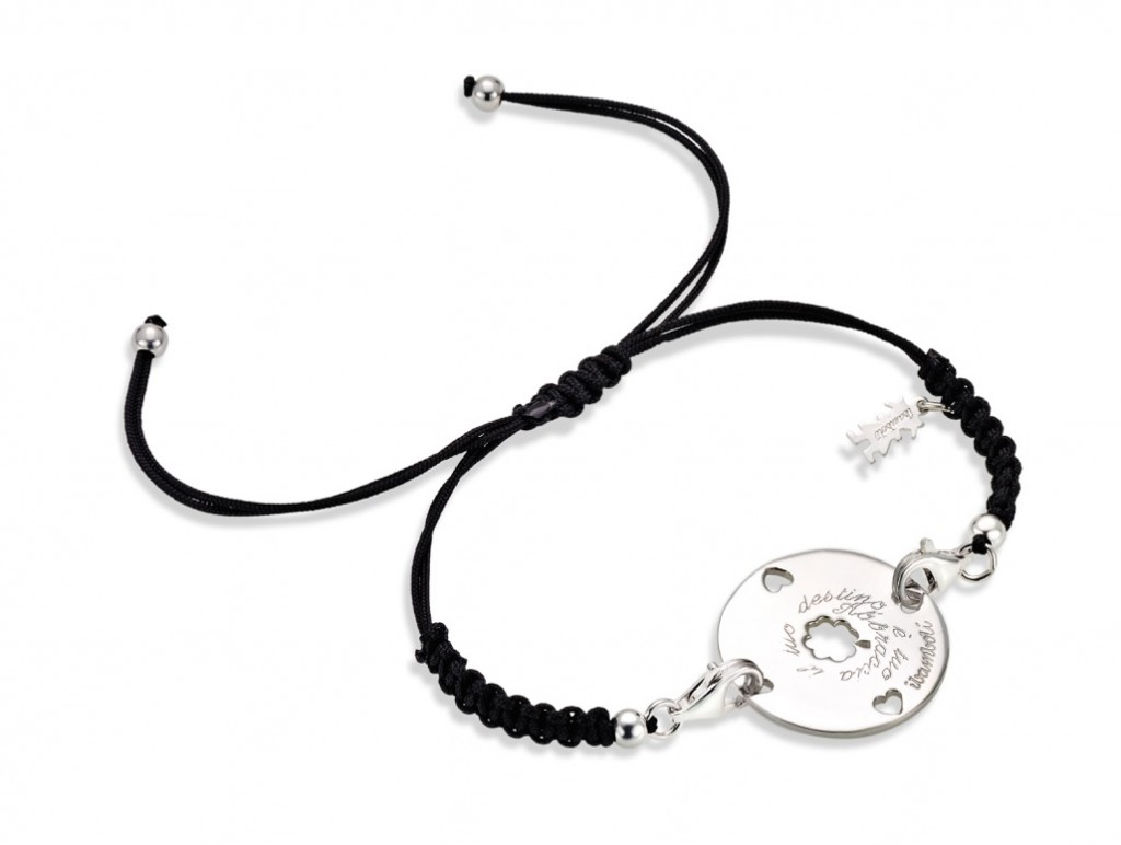My wOrds_piastra quadrifoglio argento su bracciale sagola-San-Valentino