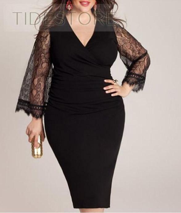 Latest-Lace-Long-Sleeve-Black-Plus-Size-Bodycon-Dress