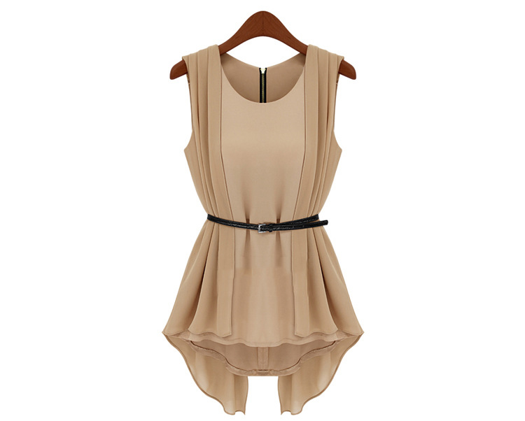 Fashion-European-Style-Irregular-Hem-Sleeveless-Round-Neckline-Blouse