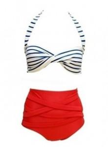 Red-Backless-Off-Shoulder-Stripe-Swimwear