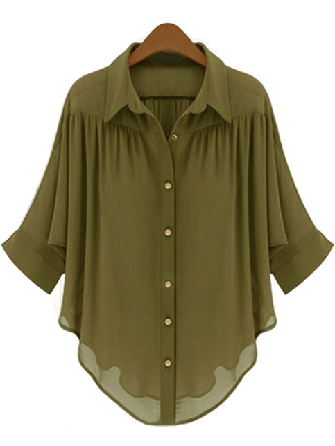 Elegant-Solid-Color-Single-Breasted-Blouse
