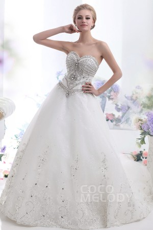 Cocomelody-a-line-ivory-chapel-train-sweetheart-tulle-wedding-dress