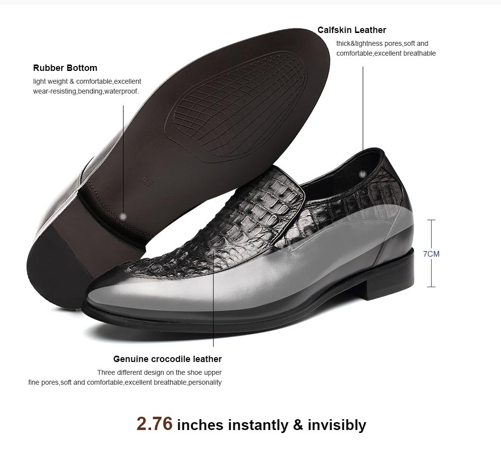 Crocodile Leather Elevator Shoes Handmade High Heel Dress Shoes For Men 7 CM/2.76 Inches
