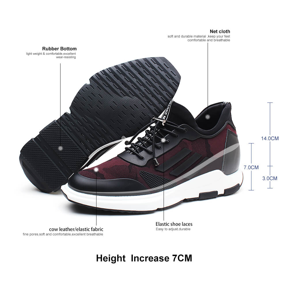Men Elevator Sneaker Sports Shoes With Hidden Heel Shoes Height Increase Shoes Wine Red 7 CM / 2.76 Inches