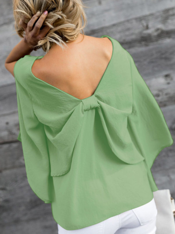 women V-Neck Bowknot Plain Three-Quarter Sleeve Blouses