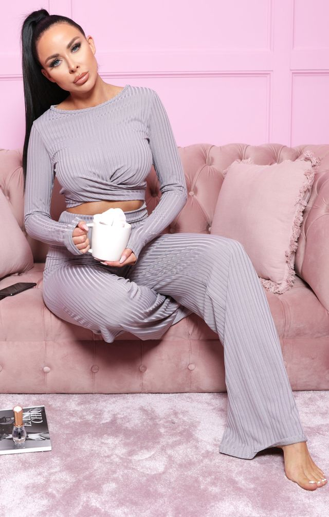 Grey Ribbed Twist Front Loungewear Set - Calley